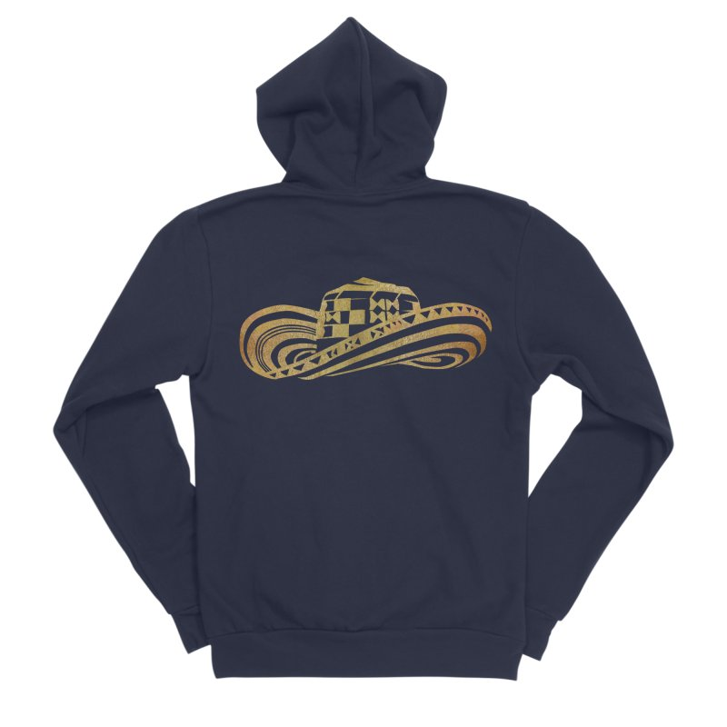 Colombian Sombrero Vueltiao in Gold Leaf Women's Sponge Fleece Zip-Up Hoody by zuzugraphics's Artist Shop