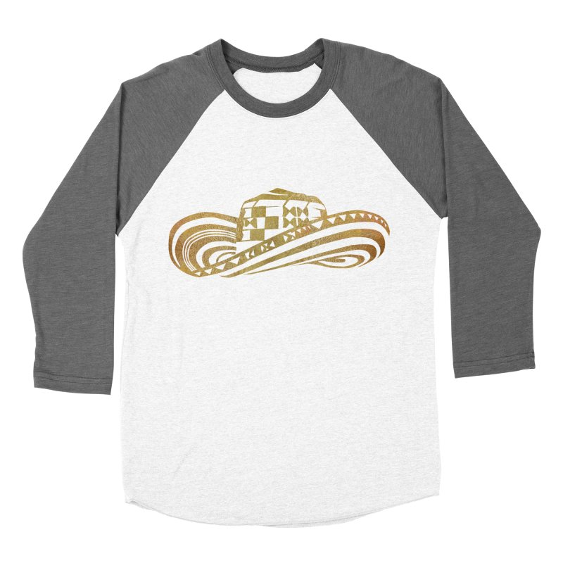 Colombian Sombrero Vueltiao in Gold Leaf Men's Baseball Triblend Longsleeve T-Shirt by zuzugraphics's Artist Shop