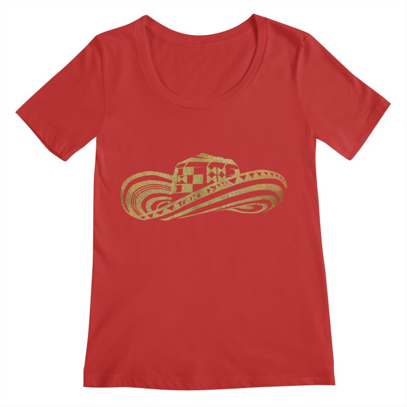 Colombian Sombrero Vueltiao in Gold Leaf Women's Regular Scoop Neck by zuzugraphics's Artist Shop