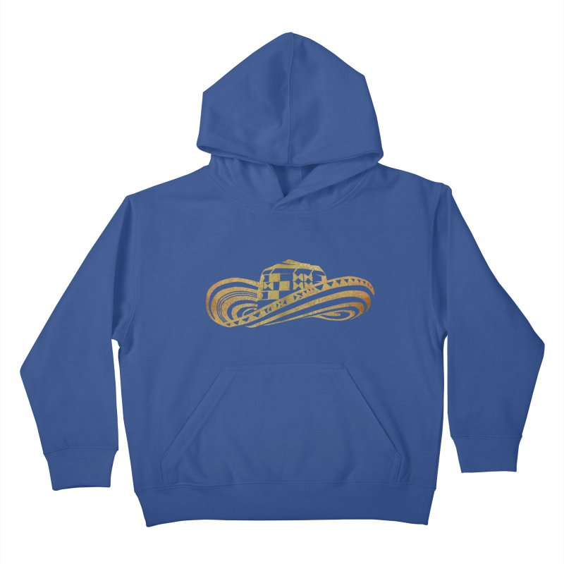 Colombian Sombrero Vueltiao in Gold Leaf Kids Pullover Hoody by zuzugraphics's Artist Shop