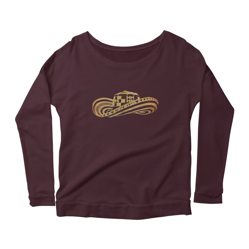 Colombian Sombrero Vueltiao in Gold Leaf Women's Scoop Neck Longsleeve T-Shirt by zuzugraphics's Artist Shop