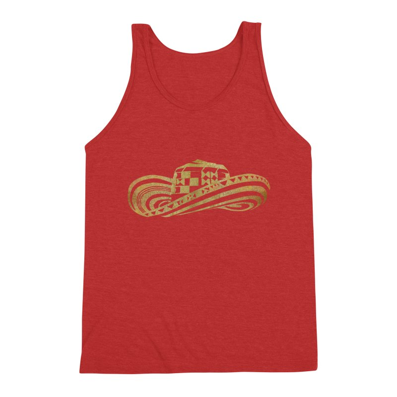 Colombian Sombrero Vueltiao in Gold Leaf Men's Triblend Tank by zuzugraphics's Artist Shop