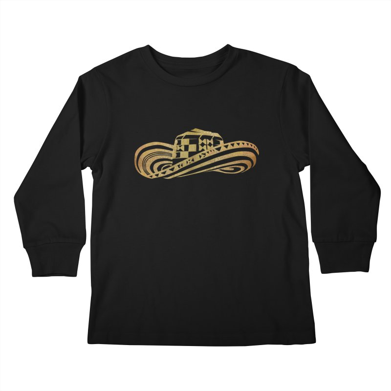 Colombian Sombrero Vueltiao in Gold Leaf Kids Longsleeve T-Shirt by zuzugraphics's Artist Shop