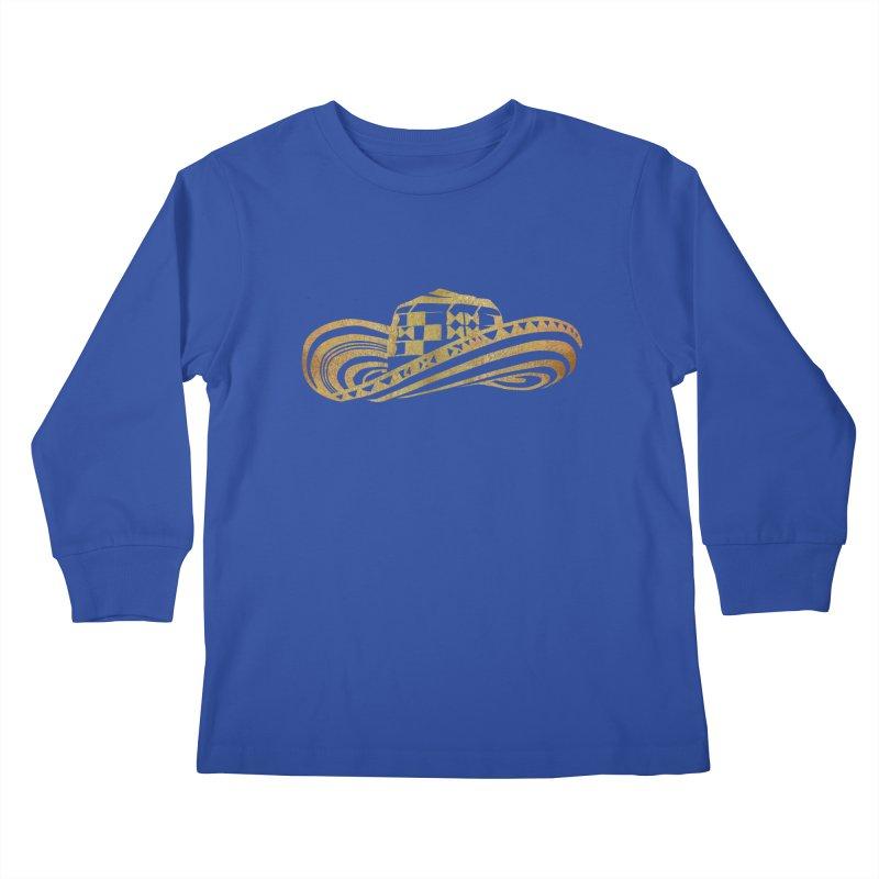 Colombian Sombrero Vueltiao in Gold Leaf Kids Longsleeve T-Shirt by zuzugraphics's Artist Shop