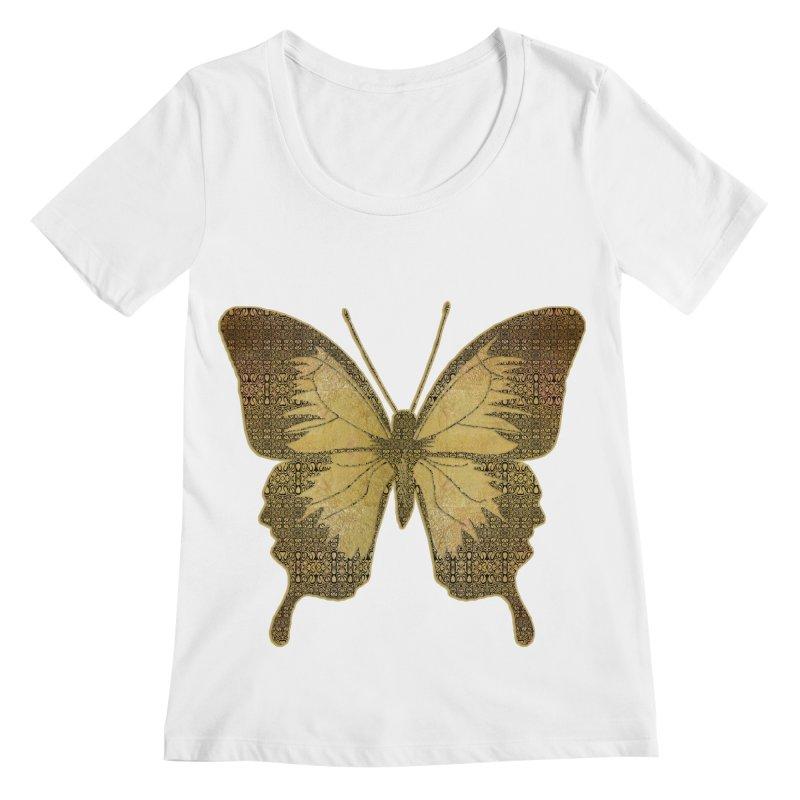 Golden Butterfly Women's Regular Scoop Neck by zuzugraphics's Artist Shop