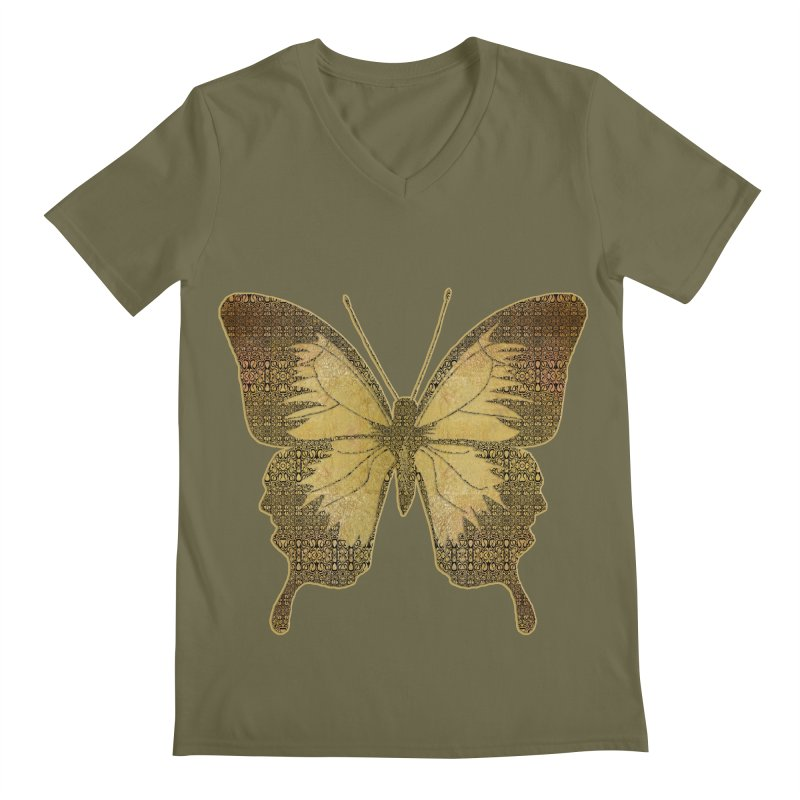 Golden Butterfly Men's Regular V-Neck by zuzugraphics's Artist Shop