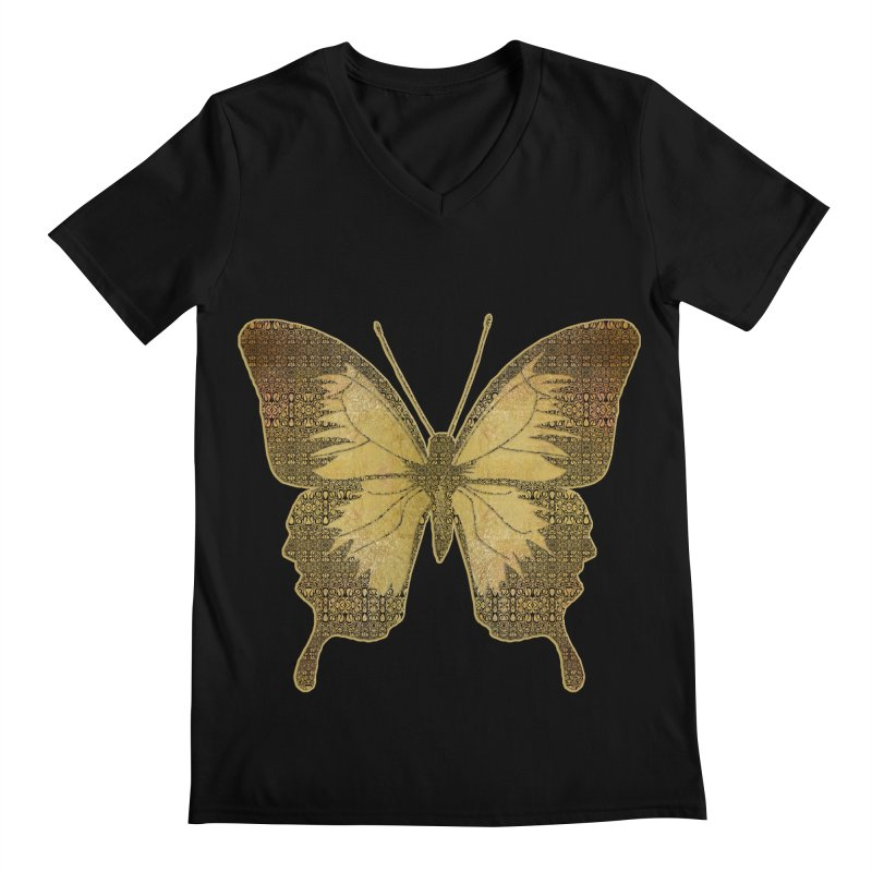 Golden Butterfly Men's Regular V-Neck by zuzugraphics's Artist Shop