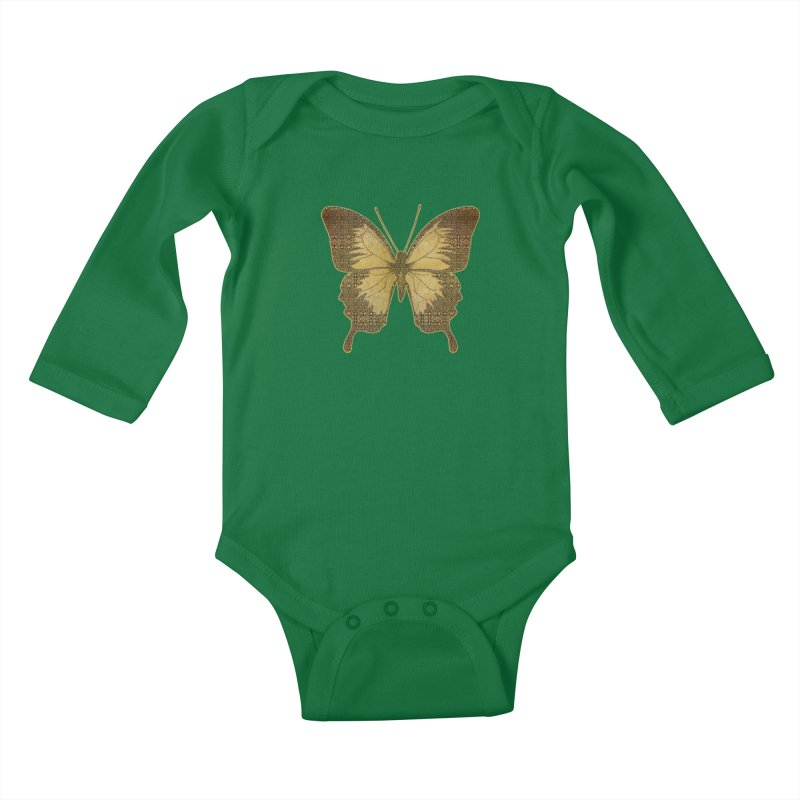Golden Butterfly Kids Baby Longsleeve Bodysuit by zuzugraphics's Artist Shop