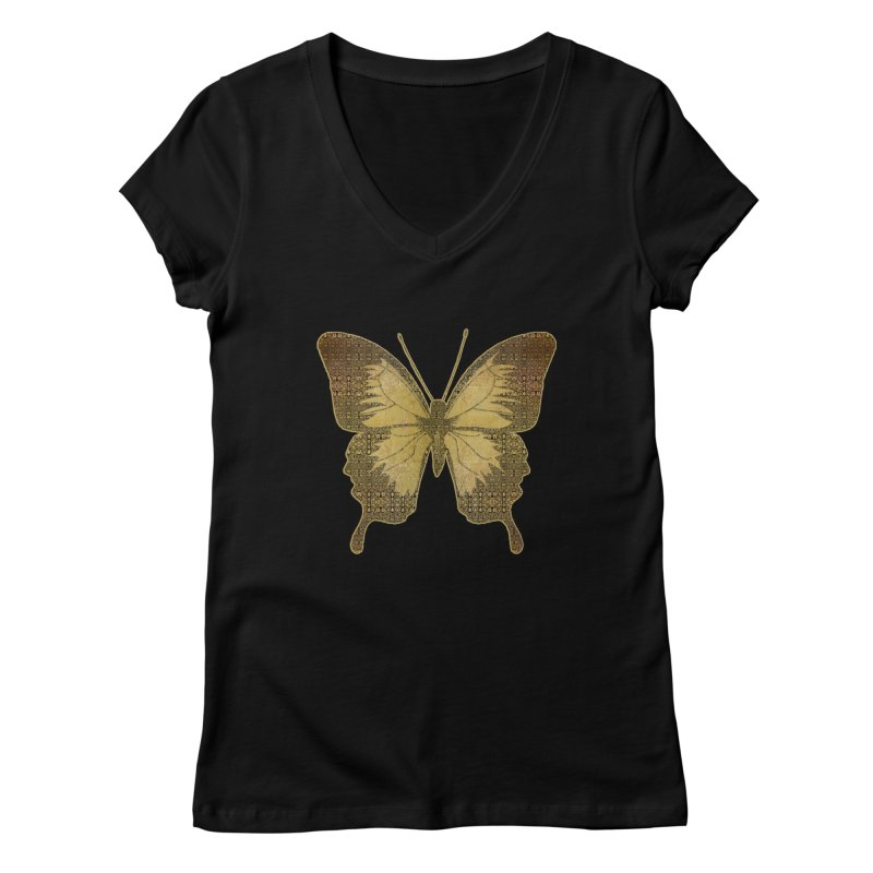 Golden Butterfly Women's V-Neck by zuzugraphics's Artist Shop