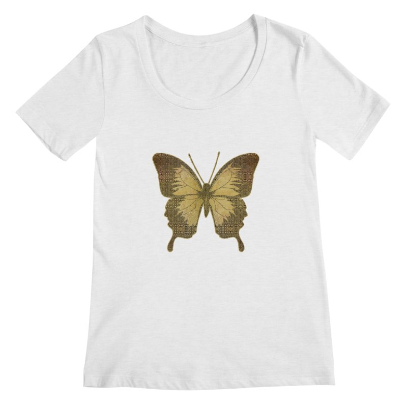 Golden Butterfly Women's Regular Scoop Neck by zuzugraphics's Artist Shop