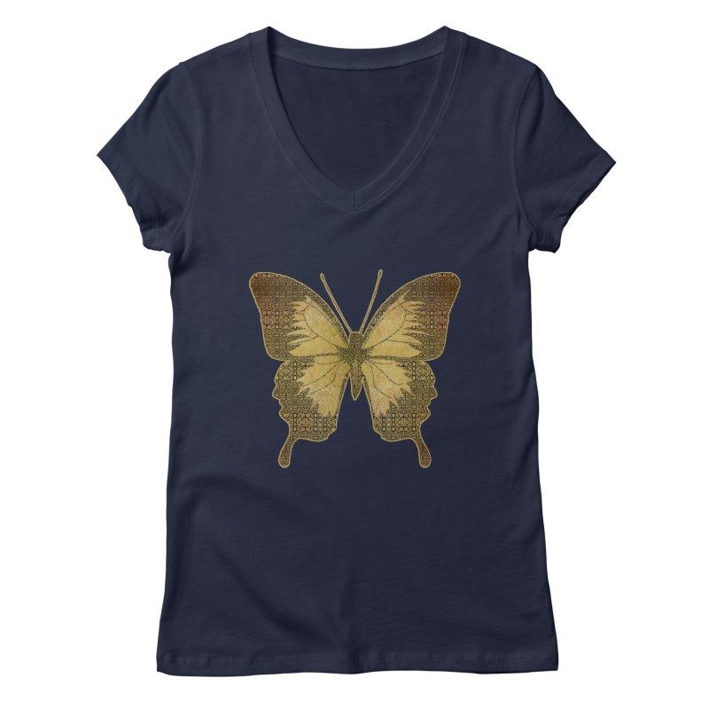 Golden Butterfly Women's Regular V-Neck by zuzugraphics's Artist Shop