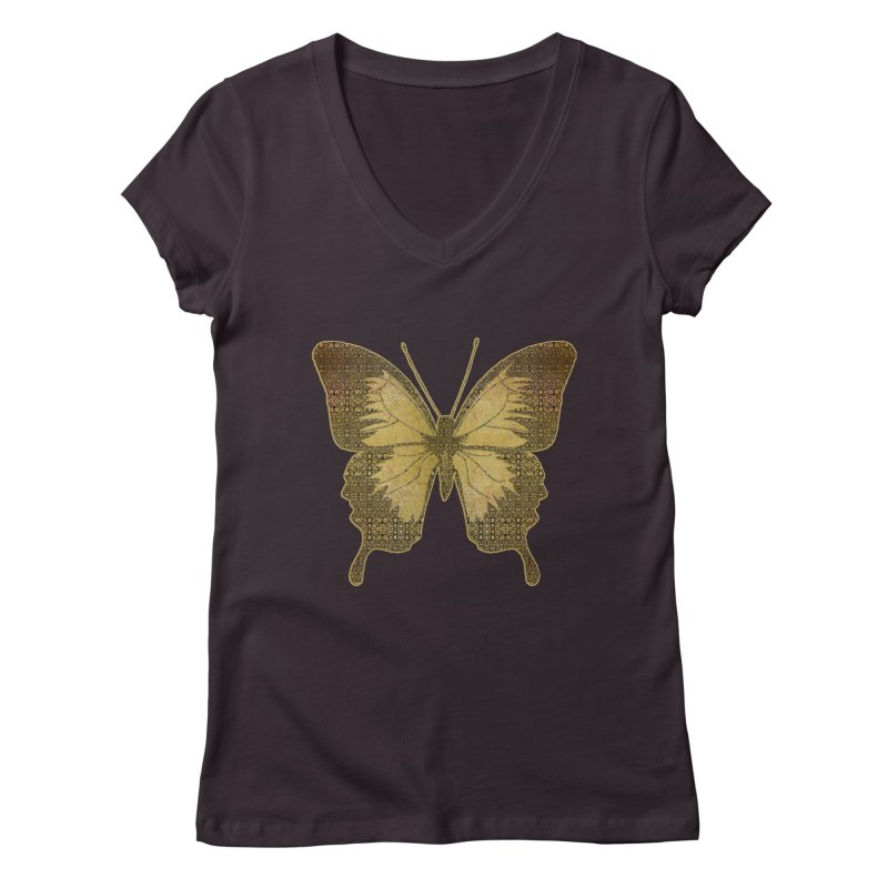 Golden Butterfly Women's Regular V-Neck by zuzugraphics's Artist Shop
