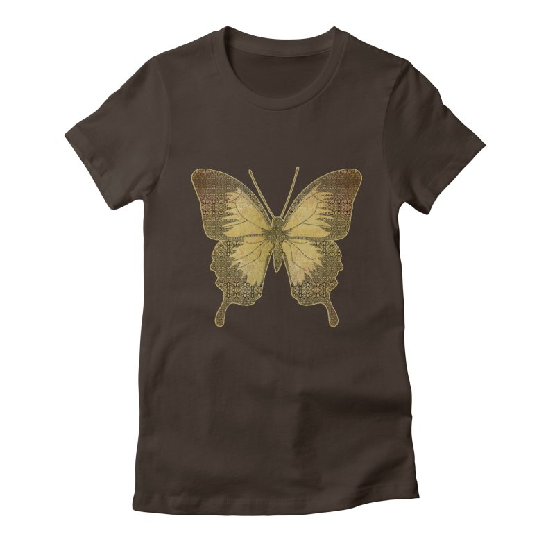 Golden Butterfly Women's Fitted T-Shirt by zuzugraphics's Artist Shop