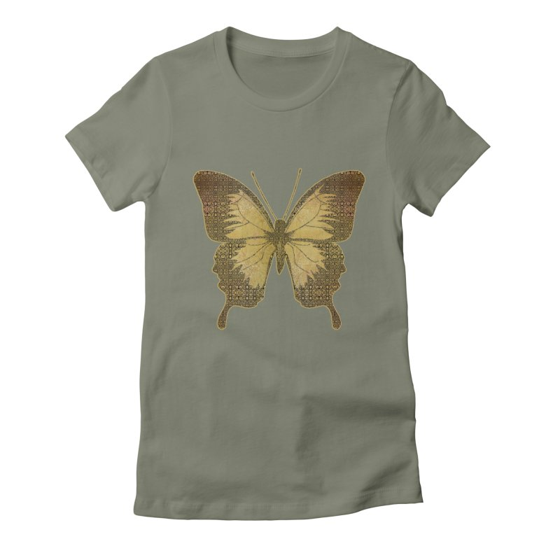 Golden Butterfly Women's Fitted T-Shirt by zuzugraphics's Artist Shop