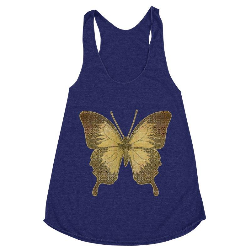 Golden Butterfly Women's Racerback Triblend Tank by zuzugraphics's Artist Shop