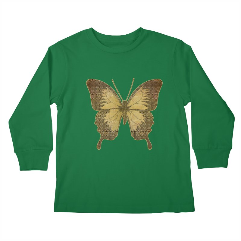 Golden Butterfly Kids Longsleeve T-Shirt by zuzugraphics's Artist Shop