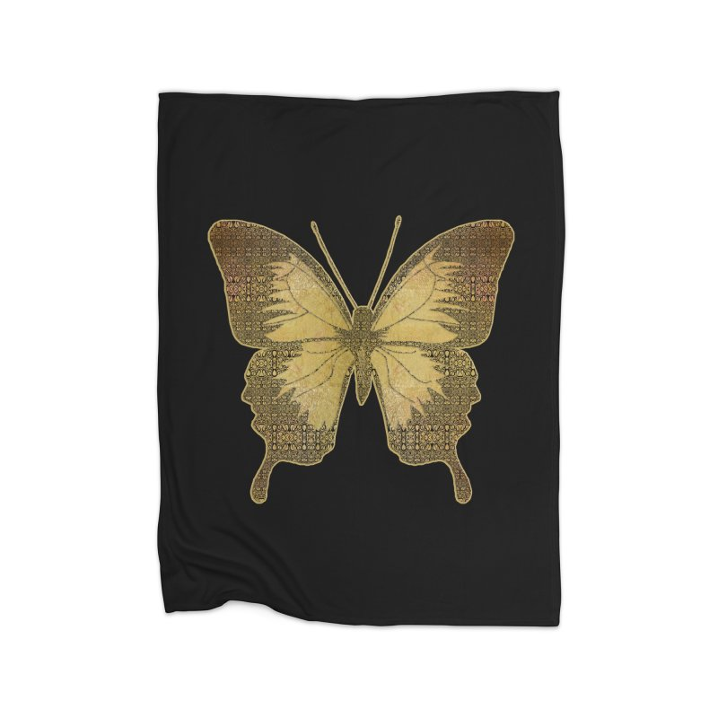 Golden Butterfly Home Fleece Blanket Blanket by zuzugraphics's Artist Shop