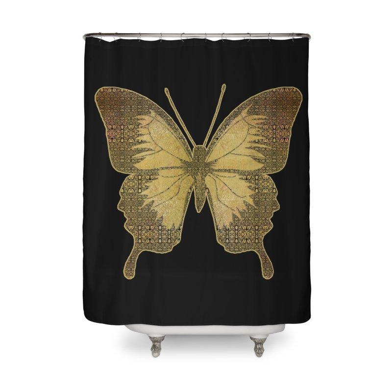 Golden Butterfly Home Shower Curtain by zuzugraphics's Artist Shop