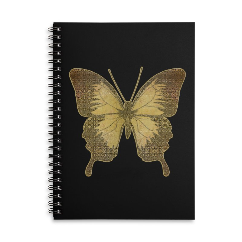 Golden Butterfly Accessories Lined Spiral Notebook by zuzugraphics's Artist Shop