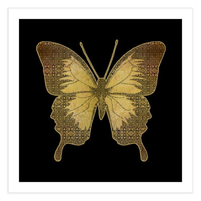 Golden Butterfly Home Fine Art Print by zuzugraphics's Artist Shop