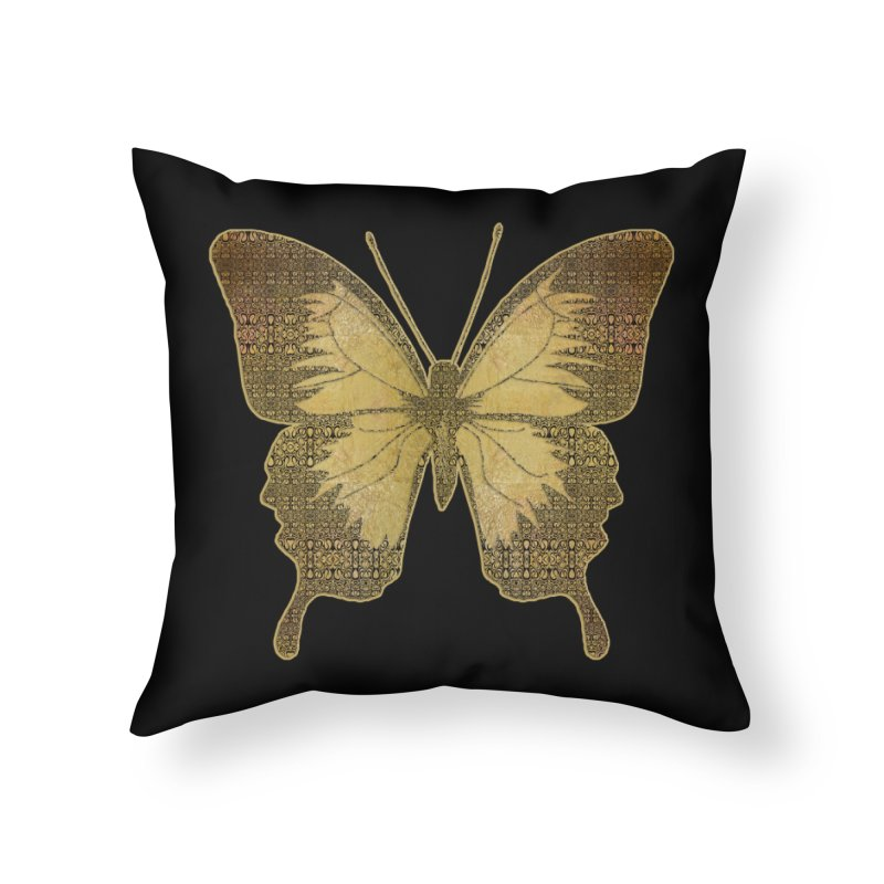 Golden Butterfly Home Throw Pillow by zuzugraphics's Artist Shop