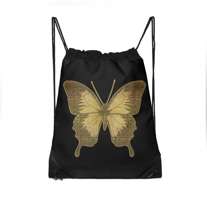 Golden Butterfly Accessories Drawstring Bag Bag by zuzugraphics's Artist Shop