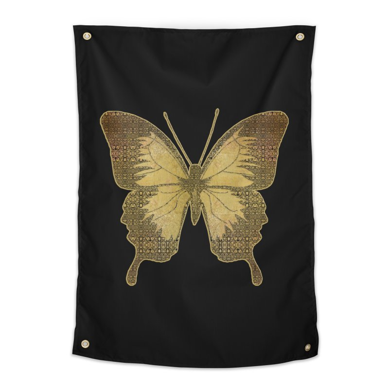 Golden Butterfly Home Tapestry by zuzugraphics's Artist Shop