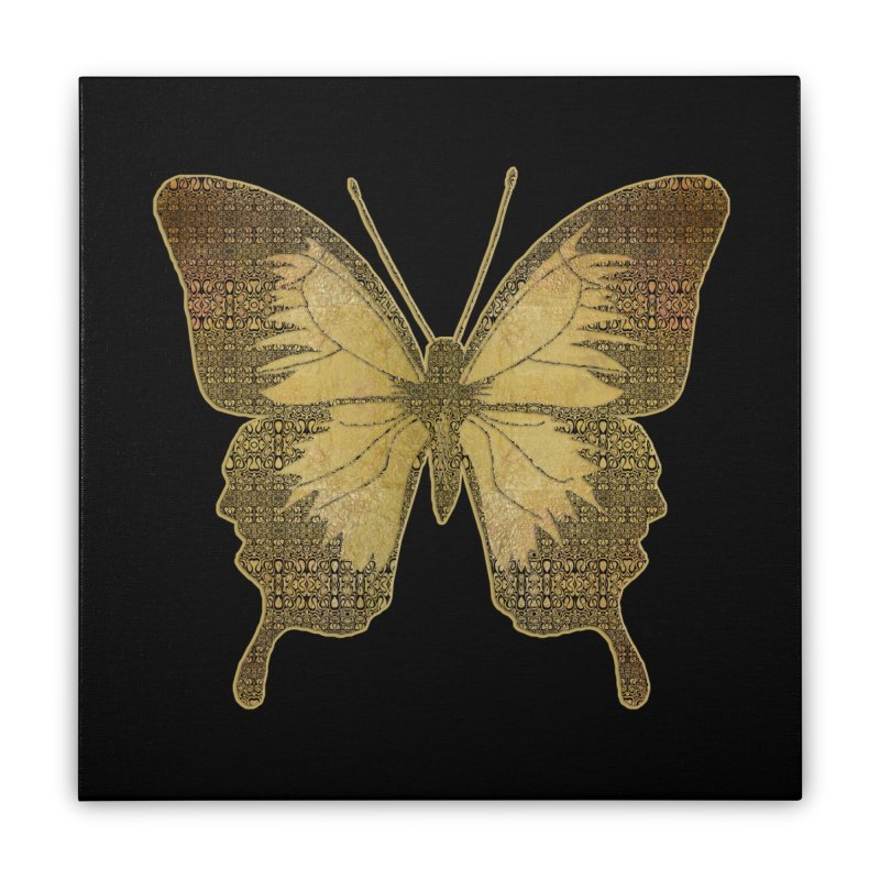 Golden Butterfly Home Stretched Canvas by zuzugraphics's Artist Shop