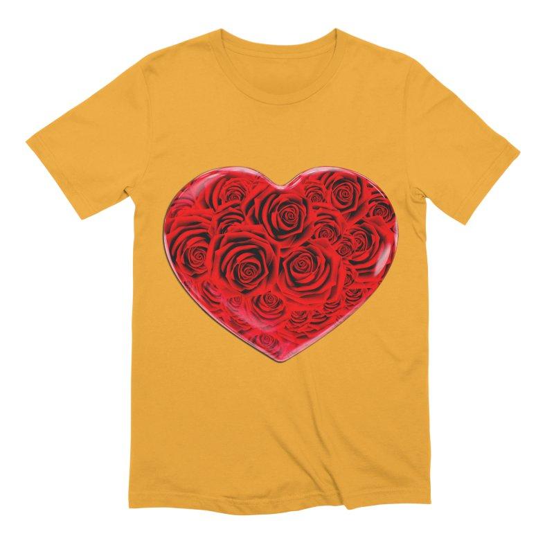 Red Roses Heart Men's Extra Soft T-Shirt by zuzugraphics's Artist Shop