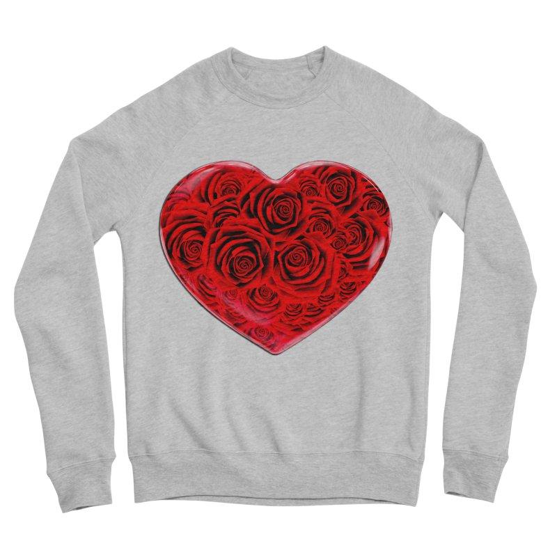 Red Roses Heart Men's Sponge Fleece Sweatshirt by zuzugraphics's Artist Shop