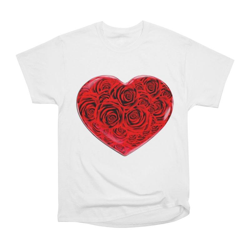 Red Roses Heart Men's Heavyweight T-Shirt by zuzugraphics's Artist Shop