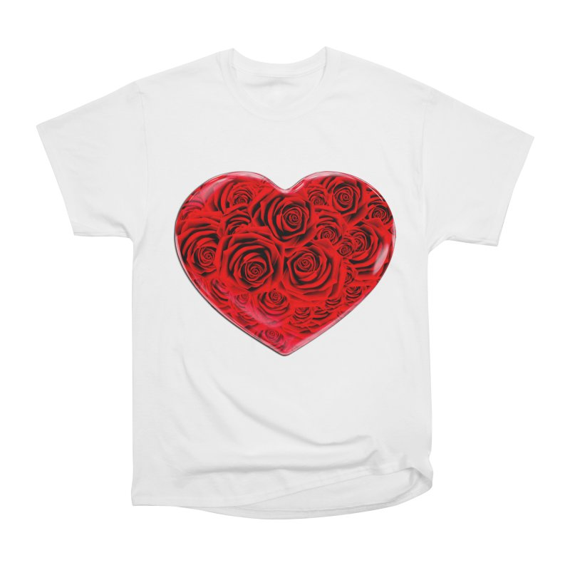 Red Roses Heart Women's Heavyweight Unisex T-Shirt by zuzugraphics's Artist Shop
