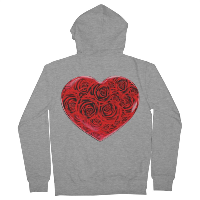 Red Roses Heart Men's Zip-Up Hoody by zuzugraphics's Artist Shop