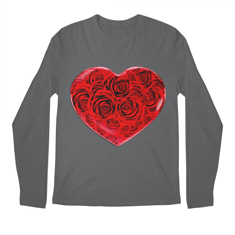 Red Roses Heart Men's Regular Longsleeve T-Shirt by zuzugraphics's Artist Shop