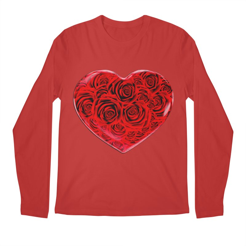 Red Roses Heart Men's Regular Longsleeve T-Shirt by zuzugraphics's Artist Shop
