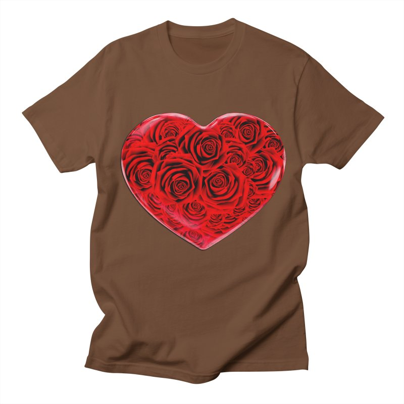 Red Roses Heart Men's Regular T-Shirt by zuzugraphics's Artist Shop