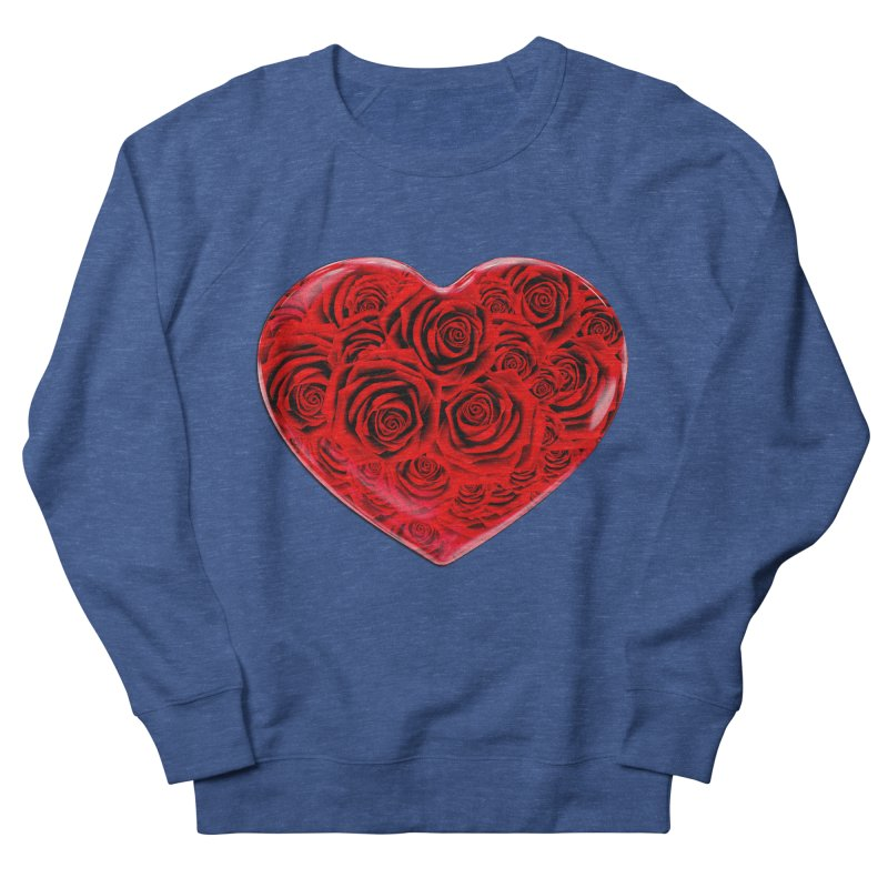 Red Roses Heart Men's French Terry Sweatshirt by zuzugraphics's Artist Shop