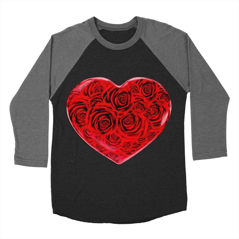 Red Roses Heart Men's Baseball Triblend T-Shirt by zuzugraphics's Artist Shop