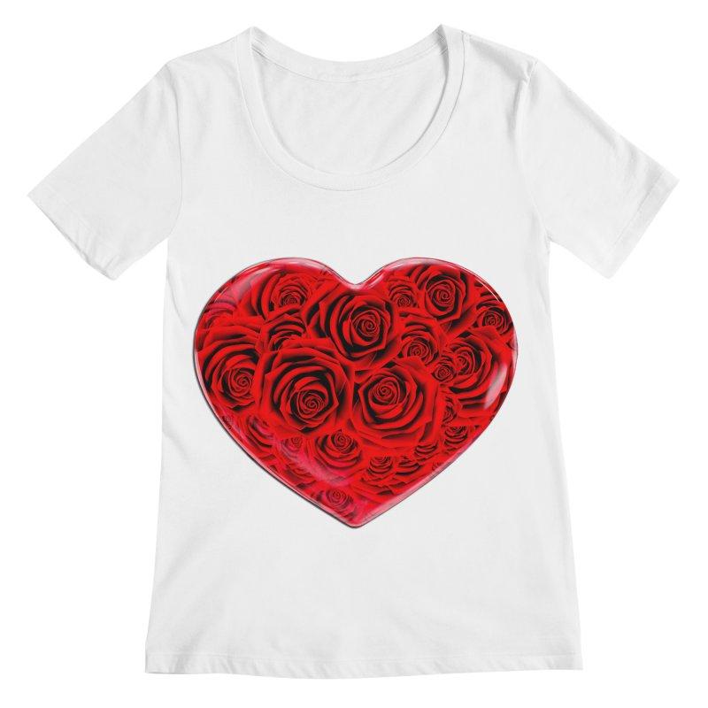 Red Roses Heart Women's Regular Scoop Neck by zuzugraphics's Artist Shop