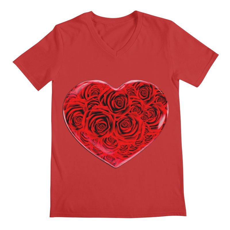 Red Roses Heart Men's Regular V-Neck by zuzugraphics's Artist Shop