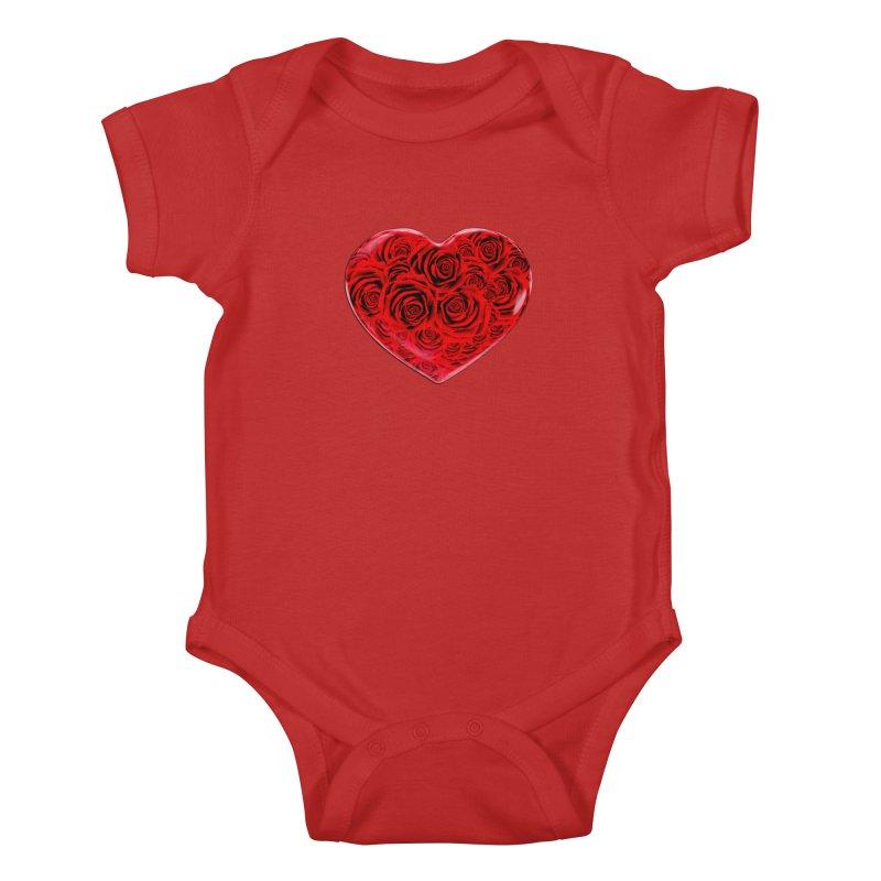 Red Roses Heart Kids Baby Bodysuit by zuzugraphics's Artist Shop