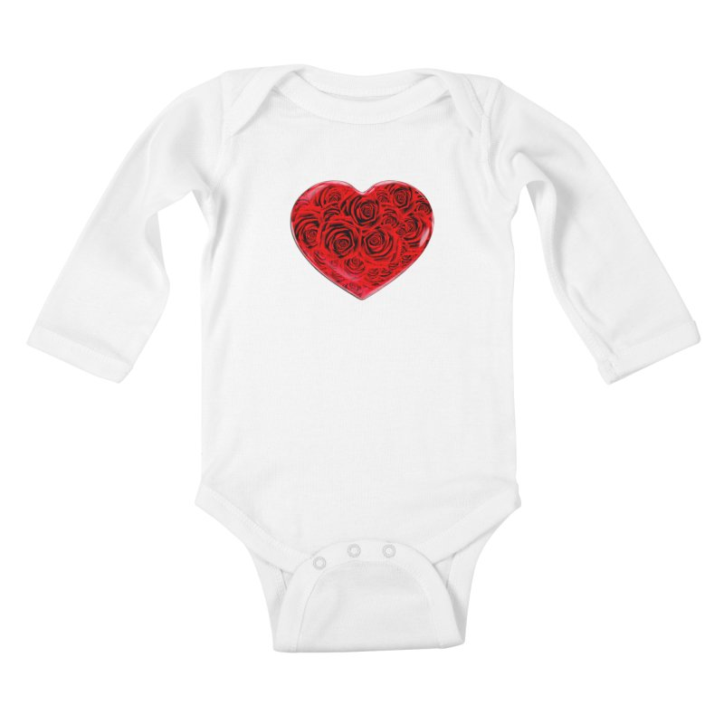 Red Roses Heart Kids Baby Longsleeve Bodysuit by zuzugraphics's Artist Shop