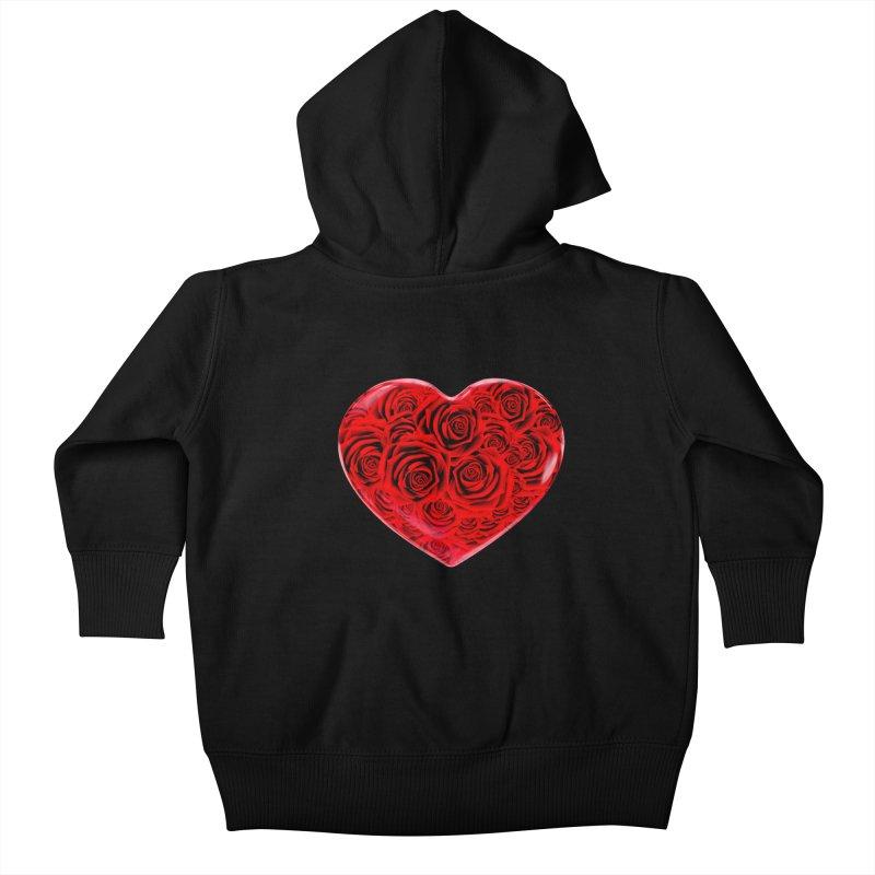 Red Roses Heart Kids Baby Zip-Up Hoody by zuzugraphics's Artist Shop