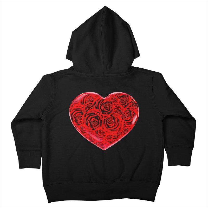Red Roses Heart Kids Toddler Zip-Up Hoody by zuzugraphics's Artist Shop