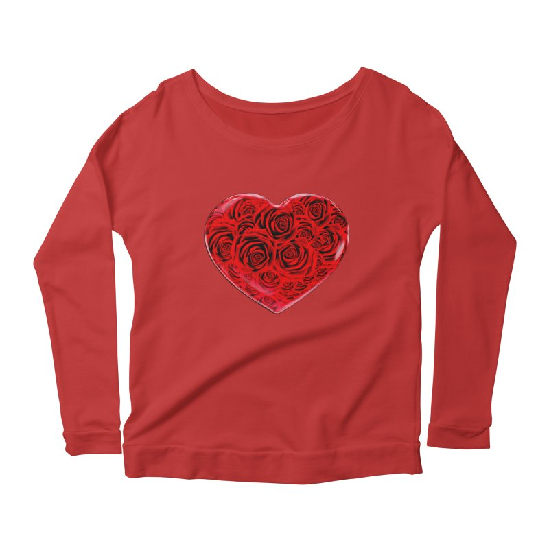 Red Roses Heart Women's Scoop Neck Longsleeve T-Shirt by zuzugraphics's Artist Shop