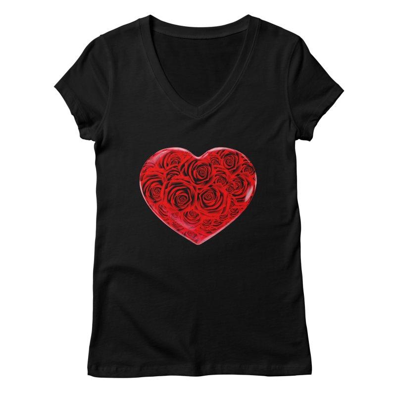 Red Roses Heart Women's V-Neck by zuzugraphics's Artist Shop