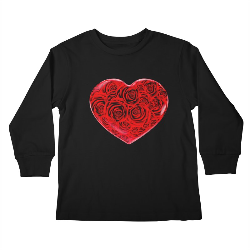 Red Roses Heart Kids Longsleeve T-Shirt by zuzugraphics's Artist Shop