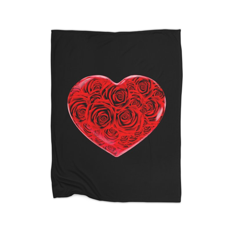 Red Roses Heart Home Fleece Blanket Blanket by zuzugraphics's Artist Shop