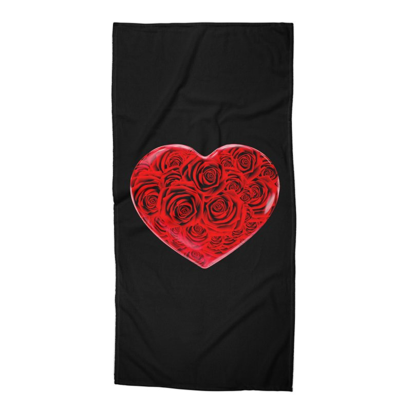 Red Roses Heart Accessories Beach Towel by zuzugraphics's Artist Shop