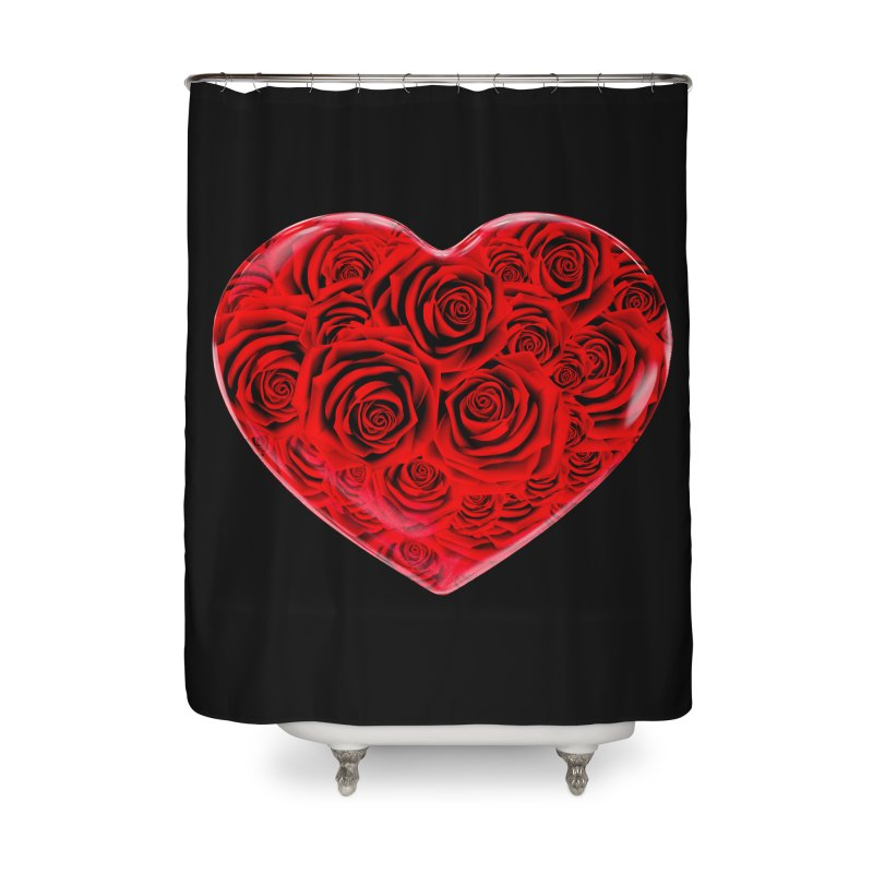 Red Roses Heart Home Shower Curtain by zuzugraphics's Artist Shop